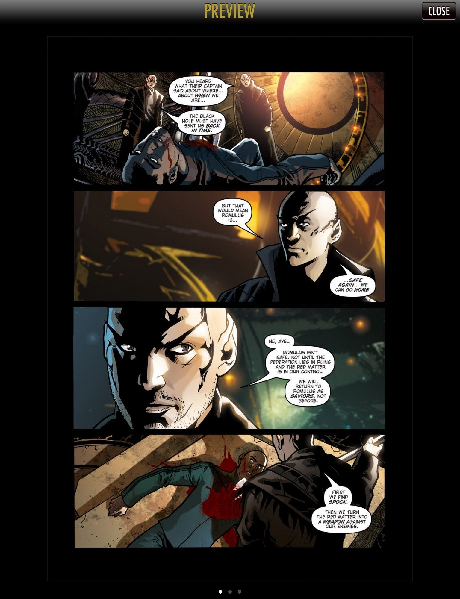 Screenshot from the Star Trek Comics app for iOS, showing a free preview of a page from *Star Trek: Nero #1* from IDW Publishing